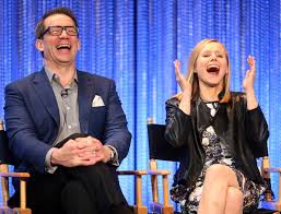 Creator/Executive Producer Rob Thomas (L) and actress Kristen Bell speak during The Paley Center for Media's PaleyFest 2014 Honoring 'Veronica Mars' at the Dolby Theatre on March 13, 2014 in Hollywood, California. (Source: Frederick M. Brown/Getty Images North America)