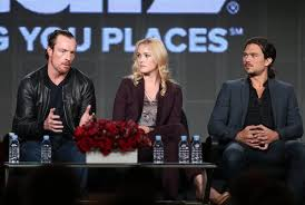 """Actors Toby Stephens, left, Hannah New and Luke Arnold speak during the """"Black Sails"""" panel at the winter tour in Pasadena. (Frederick M. Brown / Getty Images / January 10, 2014)"""