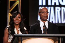 Actors Bresha Webb and Joe Morton speak onstage during the 'The 45th Annual NAACP Image Awards' nominations announcement at the TV One portion of the 2014 Winter Television Critics Association tour at the Langham Hotel on January 9, 2014 in Pasadena, California. (Source: Frederick M. Brown/Getty Images North America)