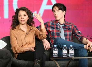 """In This Photo: Tatiana Maslany, Jordan Gavaris Actors Tatiana Maslany (L) and Jordan Gavaris speak onstage at the """"Orphan Black"""" panel discussion during the BBC America portion of the 2013 Winter TCA Tour- Day 2 at Langham Hotel on January 5, 2013 in Pasadena, California. (Jan. 4, 2013 - Source: Frederick M. Brown/Getty Images North America)"""