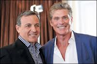 Disney prexy-CEO Robert Iger, left, spoke at the Hollywood Radio and Television Society's luncheon; David Hasselhoff was also on hand.