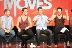 Dancers Travis Wall, Nick Lazzarini, Kyle Robinson and Teddy Forance speak onstage at 'All The Right Moves ' panel of the NBCUniversal portion of the 2012 Summer Tour at The Beverly Hilton Hotel on July 25, 2012 in Beverly Hills, California. (Source: Frederick M. Brown/Getty Images North America)