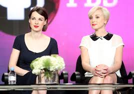 Actresses Jessica Raine (L) and Helen George speak onstage during theCall The Midwifepanel discussion during the PBS 2013 Winter TCA Press Tour at Langham Hotel on January 15, 2013 in Pasadena, California. (Source: Frederick M. Brown/Getty Images North America)