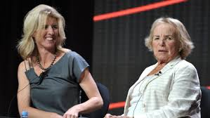 Director Rory Kennedy, left, and Ethel Kennedy at HBO's TCA panel at the Beverly Hilton hotel. Rory Kennedy's documentary Ethel to air Oct. 18 on HBO. (Photo by John Shearer/Invision/AP)