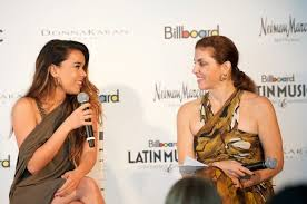 Singer Beatriz Luengo and Billboard Executive Director of Latin Content and Programming at the Billboard/Donna Karan New York fashion show and luncheon for women in Latin music. (Photo: Michael Seto)