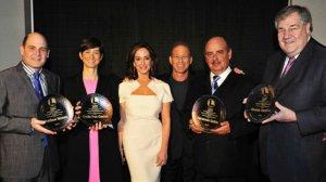 Brandon Tartikoff Legacy Award Honorees with widow Lilly Tartikoff and NATPE president Rick Feldman