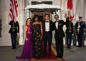 The Obamas and Trudeaus prepare to dine at the White House official state dinner