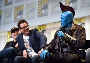 "SAN DIEGO, CA - JULY 23: (L-R) Marvel Studios president and producer Kevin Feige, director James Gunn and Yondu (Michael Rooker) from Marvel Studios' ""Guardians Of The Galaxy Vol. 2"" attend the San Diego Comic-Con International 2016 Marvel Panel in Hall H on July 23, 2016 in San Diego, California. ©Marvel Studios 2016  (Photo by Alberto E. Rodriguez/Getty Images for Disney) *** Local Caption *** Kevin Feige; James Gunn; Michael Rooker"