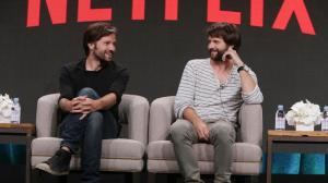 """Creators of """"Stranger Things"""" Matt Duffer and Ross Duffer discuss what they have planned for a possible second season on Netflix, during the 2016 Television Critics Assn. summer press tour. (Maxine Pezim / Netflix)"""