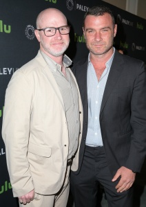 BEVERLY HILLS, CA - JULY 26:  Executive Producer David Hollander (L) and actor Liev Schreiber attend PaleyLive's 'An Evening with Ray Donovan' at The Paley Center for Media on July 26, 2016 in Beverly Hills, California. (Photo by Imeh Bryant for The Paley Center)