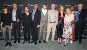 BEVERLY HILLS, CA - JULY 26:  (L-R) Actors Katherine Moenning, Liev Schreiber, Devon Bagby, Steven Bauer, Dash Mihok, Executive Producer David Hollander, actors Kerris Dorsey, Paula Malcomson, Pooch Hall, and Jon Voight attend PaleyLive's 'An Evening with Ray Donovan' at The Paley Center for Media on July 26, 2016 in Beverly Hills, California. (Photo by Imeh Bryant for The Paley Center)