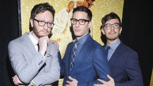 Mandatory Credit: Photo by MediaPunch/REX/Shutterstock (5694465d) Akiva Schaffer, Andy Samberg and Jorma Taccone 'Popstar: Never Stop Never Stopping' film premiere, New York, America - 24 May 2016