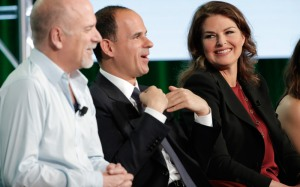 Jim Ackerman, CNBC's EVP of primetime alternative programming; The Profit Marcus Lemonis; and Restaurant Startup investor Elizabeth Blau during CNBC's TCA session. (Photo by Chris Haston/NBCUniversal)