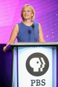 President and CEO of PBS Paula Kerger speaks onstage during the ' Executive Session' panel discussion at the PBS portion of the 2016 Television Critics Association Summer Tour at The Beverly Hilton Hotel on July 28, 2016 in Beverly Hills, California. (July 27, 2016 - Source: Frederick M. Brown/Getty Images North America)