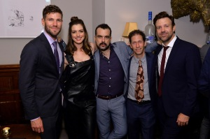TORONTO, ON - SEPTEMBER 09:  (L-R) Actors Austin Stowell, Anne Hathaway, director Nacho Vigalondo, actors Tim Blake Nelson and Jason Sudeikis at the Colossal TIFF party hosted by GREY GOOSE Vodka and Soho House Toronto on September 9, 2016 in Toronto, Canada.  (Photo by Stefanie Keenan/Getty Images for Grey Goose Vodka )
