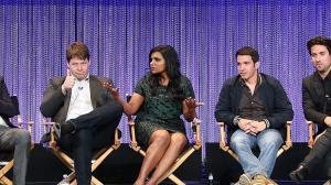 "Buzzfeed's Jarett Wieselman, left, moderates PalyFest's panel with ""The Mindy Project's"" executive producer Matt Warburton, co-producer/actor Ike Barinholtz, executive producer/actress Mindy Kaling and costars Chris Messina, Ed Weeks, Xosha Roquemore, Zoe Jarman and Beth Grant on Tuesday at the Dolby Theatre in Hollywood. Frederick M. Brown / Getty Images Copyright © 2016, Los Angeles Times"