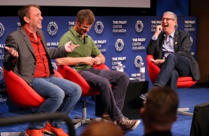 BEVERLY HILLS, CA - September 1:  (L-R) Creators Trey Parker, Matt Stone, and Viacom President Doug Herzog speak onstage during a Q&A at a retrospective event honoring 20 seasons of 'South Park' at The Paley Center for Media on September 1, 2016 in Beverly Hills, California. (Photo by Imeh Bryant for The Paley Center)