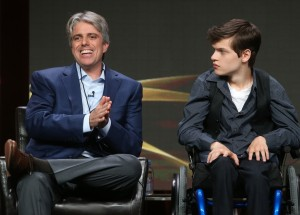 Writer/producer Scott Silveri (L) and actor Micah Fowler speak onstage at the 'Speechless' panel discussion during the Disney ABC Television Group portion of the 2016 Television Critics Association Summer Tour at The Beverly Hilton Hotel on August 4, 2016 in Beverly Hills, California. (Aug. 3, 2016 - Source: Frederick M. Brown/Getty Images North America)
