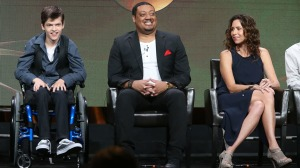 BEVERLY HILLS, CA - AUGUST 04: (L-R) Actors Micah Fowler, Cedric Yarbrough and Minnie Driver speak onstage at the 'Speechless' panel discussion during the Disney ABC Television Group portion of the 2016 Television Critics Association Summer Tour at The Beverly Hilton Hotel on August 4, 2016 in Beverly Hills, California. (Photo by Frederick M. Brown/Getty Images)