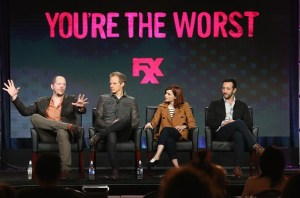 "(L-R) Creator/Executive Producer/Showrunner Stephen Falk, actors Chris Geere, Aya Cash and Desmin Borges speak onstage during ""You're The Worst"" panel discussion at the FX portion of the 2015 Winter TCA Tour at the Langham Huntington Hotel on January 16, 2016 in Pasadena, California."