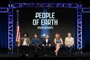 Mandatory Credit: Photo by Rob Latour/Variety/REX/Shutterstock (5810256b) Wyatt Cenac, Oscar Nunez, Ana Gasteyer, Greg Daniels and David Jenkins TBS 'People of Earth' Panel at the TCA Summer Press Tour, Day 4, Los Angeles, USA - 31 Jul 2016