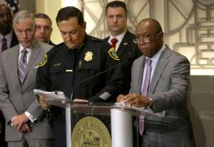 Houston Mayor Sylvester Turner speaks at a media conference about human trafficking issues