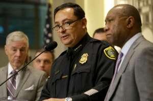 Houston Police Chief Art Acevedo with Houston Mayor Sylvester Turner