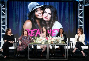 (L-R) Executive producer Denise Di Novi, director Allison Anders, actresses Idina Menzel and Nia Long and executive producer Alison Greenspan.