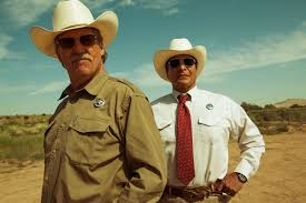 """From left, Jeff Bridges and Gil Birmingham in a scene from """"Hell or High Water."""" (Courtesy of Lorey Sebastian)"""