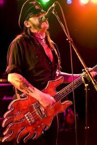 Motorhead, Lemmy Kilmister with the Minarik Inferno bass guitar