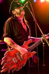 Motorhead, Lemmy Kilmister with the Minarik Inferno bass guitar