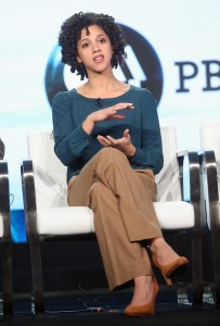 "Sr. Digital Reporter, FRONTLINE Sarah Childress of 'FRONTLINE ""American Patriot""' panel speaks onstage during the PBS portion of the 2017 Winter Television Critics Association Press Tour at Langham Hotel on January 15, 2017 in Pasadena, California. (Jan. 14, 2017 - Source: Frederick M. Brown/Getty Images North America)"