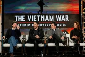 "Ken Burns, from left, Trent Reznor, Atticus Ross and Lynn Novick speak at PBS' ""The Vietnam War"" panel at the 2017 Television Critics Association press tour on Sunday in Pasadena, Calif."
