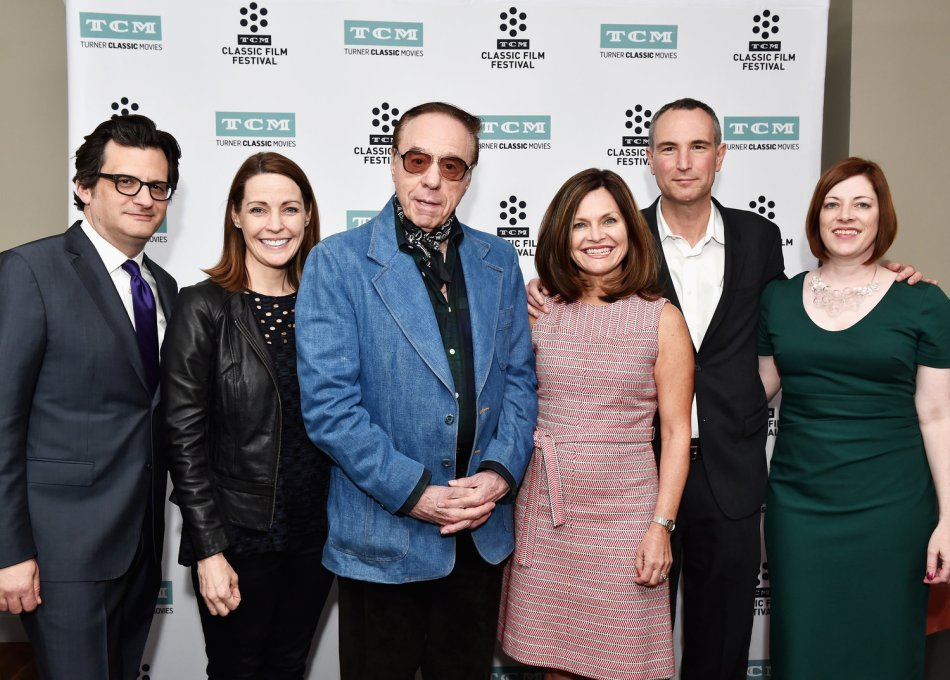 Left to right:Ben Mankiewicz. Host, Turner Classic Movies; Jennifer Dorian, General Manger, Turner Classic Movies; Peter Bogdanovich; Pola Changnon, Senior Vice President, Creative, Brand and Marketing, Turner Classic Movies; Charlie Tabesh, Senior Vice President Programming and Production; Turner Classic Movies; Genevieve McGillicuddy, Director, TCM Classic Film Festival;