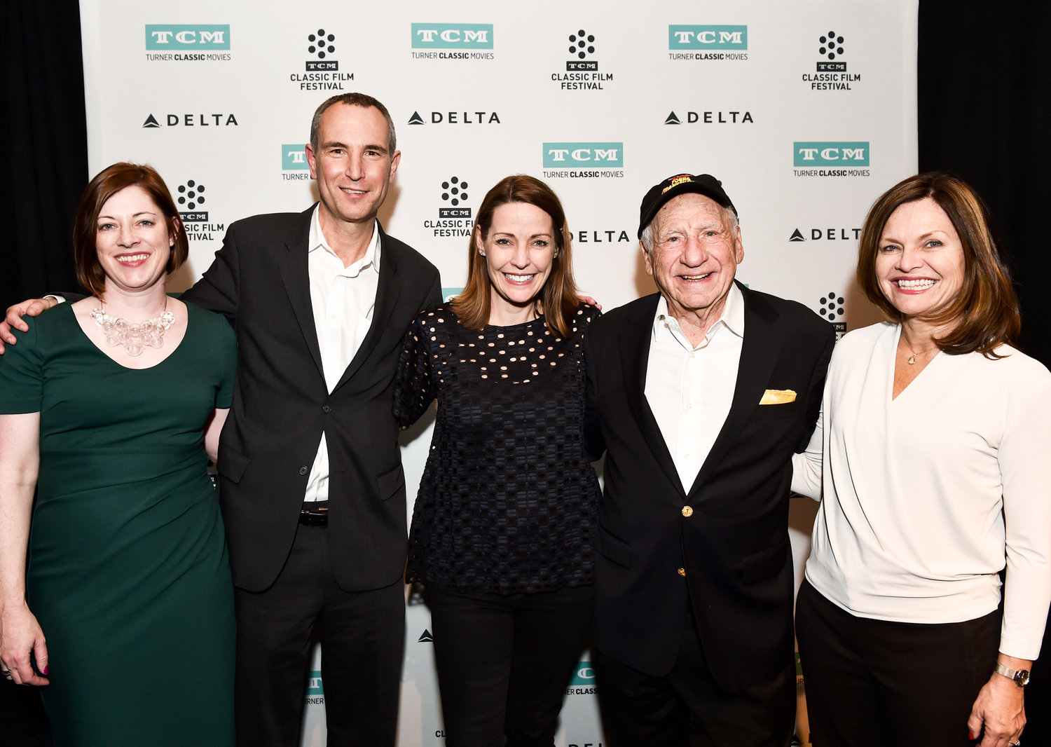 Left to right: Genevieve McGillicuddy, Director, TCM Classic Film Festival; Charlie Tabesh, Senior Vice President Programming and Production; Turner Classic Movies; Jennifer Dorian, General Manger, Turner Classic Movies; Mel Brooks; Pola Changnon, Senior Vice President, Creative, Brand and Marketing, Turner Classic Movies